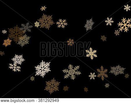 Snow Flakes Falling Macro Vector Illustration, Christmas Snowflakes Confetti Falling Chaotic Scatter