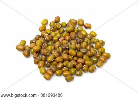 Close Up Of Dry Green Beans Isolated On White Background