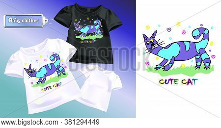 Vector Color Sketch For T-shirt. Image Of A Cartoon Blue Cat. Children's, Cheerful Drawing Of An Ani