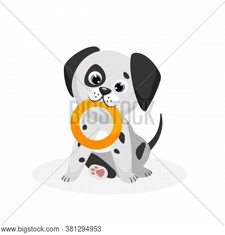 Dalmatian Puppy. Isolated Playful Purebred Dalmatian Dog Puppy Icon. Cute Spotted Doggy Pet Animal C