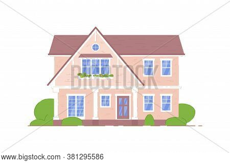 Countryside House. Two-storied Classical Architecture Countryside Or Suburban House Building Icon Is