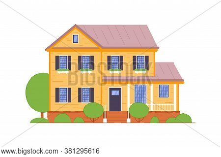 Guest House. Small Brick Two-storied Guest House With Terrace Icon Isolated On White Background. Det