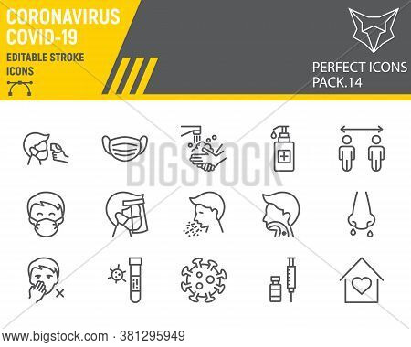 Coronavirus Line Icon Set, Prevention Collection, Vector Sketches, Logo Illustrations, Covid-19 Icon