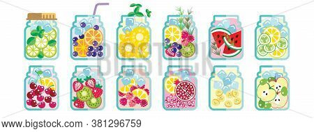 Collection Of Infused Water With Mixed Fresh  Fruit For Healthy Concept