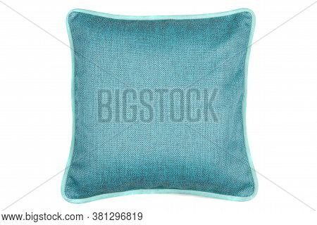 Blue Decorative Pillow Isolated On White Background