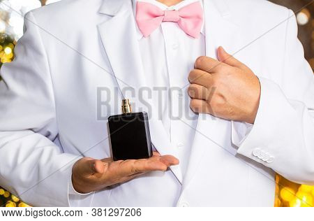 Male Fragrance, Perfumery, Cosmetics. Smell Perfume. Expensive Suit. Rich Man Prefers Expensive Frag