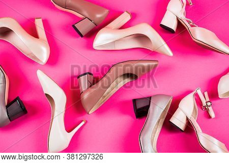 Shoe For Women. Stylish Classic Women Leather Shoe. High Heel Women Shoes On Red Background. Beauty