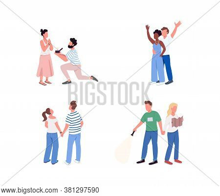 Couple Entertainment Flat Color Vector Faceless Character Set. Man Propose To Woman With Diamond Rin