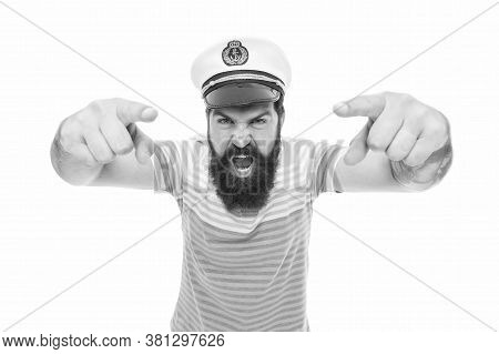Hey You. Sailor Spirit. Bearded Sailor Pointing Camera Isolated On White. Sailor Or Seaman With Long