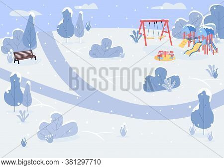Winter Park Flat Color Vector Illustration. Public Park And With Bench And Playground Equipment. Sno