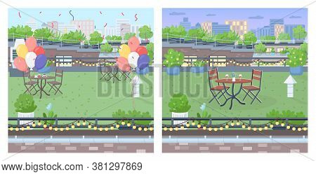 Rooftop For Party Flat Color Vector Illustration Set. Party Celebration Furniture On Urban Terrace.