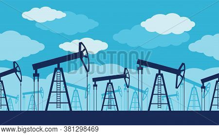 Oil Production Seamless Pattern - Oil Derrick Silhouettes With Blue Cloudy Sky - Petroleum Industry