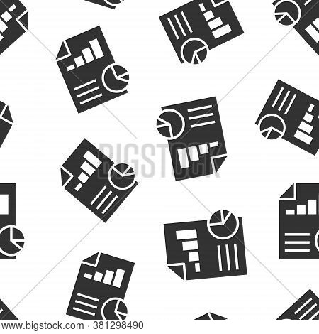 Financial Statement Icon In Flat Style. Document Vector Illustration On White Isolated Background. R