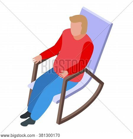 Man Retirement Rocking Chair Icon. Isometric Of Man Retirement Rocking Chair Vector Icon For Web Des