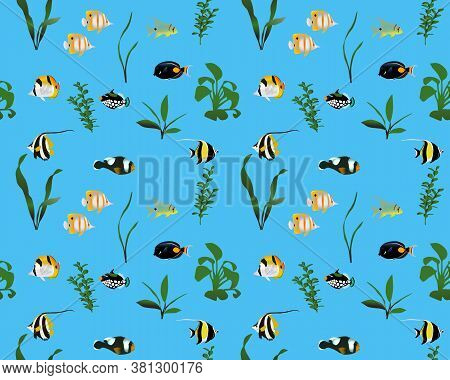 Seamless Pattern With Marine Fishes And Water Plants In Colour Image. Species Of Fish: Butterflyfish