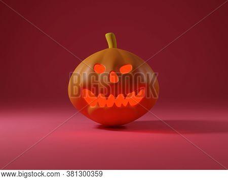 3 D Illustration Halloween Pumpkin On Red Background Have Shadow Side