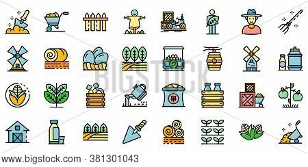 Producer Icons Set. Outline Set Of Producer Vector Icons Thin Line Color Flat On White
