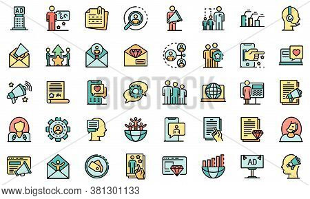 Pr Specialist Icons Set. Outline Set Of Pr Specialist Vector Icons Thin Line Color Flat On White