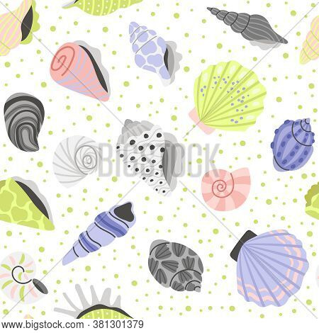Decoration Seashells Seamless Pattern. Cartoon Sea Conchas, Hand Drawn Shells Of Clam And Oyster, El