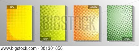 Cool Dot Perforated Halftone Cover Page Templates Vector Batch. Digital Catalog Faded Halftone Backd