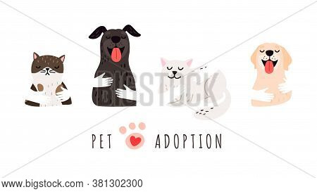 Pet Adoption. Hands Holding Dogs Cats, Shelter Banner. Isolated Cute Animals, Adopt Vector Backgroun