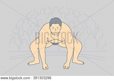 Sport, Competition, Obesity, Japan, Preparation, Fight Concept. Young Fat Obese Serious Asian Man Su