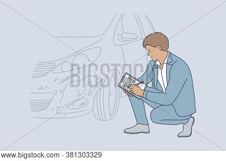 Accident, Examination, Checkup, Automobile Concept. Young Professional African American Man Guy Insu