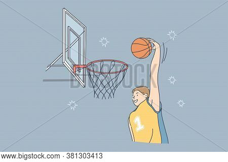 Sport, Game, Match, Competition, Hobby Concept. Young Professional Man Guy Athlete Basketball Player