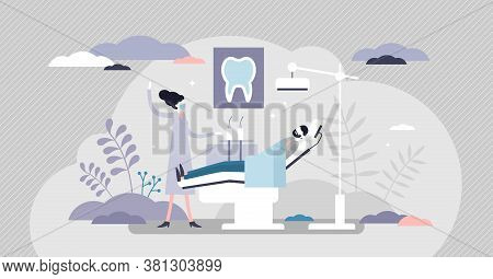 Dentist As Patient Mouth Oral Teeth Hygiene Occupation Tiny Persons Concept. Stomatology Doctor With