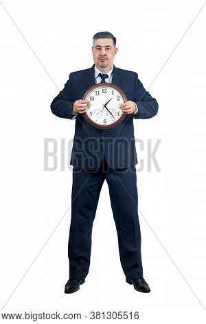 Conceptual Image Of A Man With A Big Clock - Time Reminder, Business, Time Management, Time Tracking