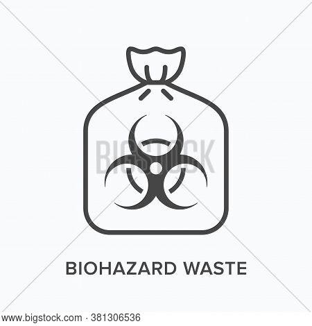 Biohazard Waste Line Icon. Vector Outline Illustration Of Bio Hazard Garbage In Plastic Bag Flat Sig