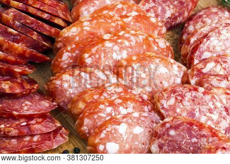 Pork Meat Cooked And Marinated For Food, The Products Are Ready And Eaten Dried