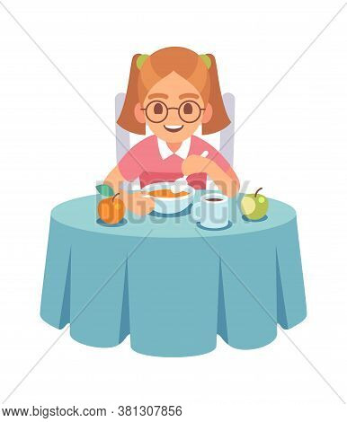 Girl Eating Dinner Or Lunch. Smiling Toddler Sits At Table And Eats Soup With Spoon, Healthy Food Fo