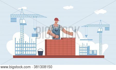 Builder Builds Brick Wall. Professional Worker Or Masonry In Uniform And Helmet Work With Trowel, Ma