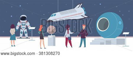 Space Exhibition In Museum Or Art Gallery. Visitors Men And Women Looking Artworks Spacecraft And Ro