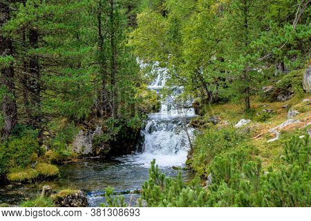 Autumn Landscape In Val Di Fanes, Dolomites, South Tyrol, Italy, Europe