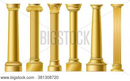 Golden Columns. Classic Antique Gold Pillars, Roman Historical Stone Column, Ancient Greece Historic