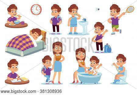 Boy Routine. Kid Daily Activities, Little Child Sleeps Bed, Wake Up In Bedroom And Takes Bath With M