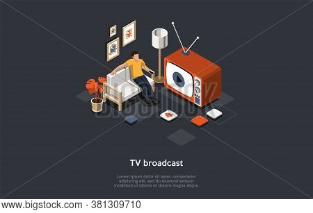 Tv Broadcast, Media And Entertainment Industry Concept. Male Character Relaxes On The Couch After A