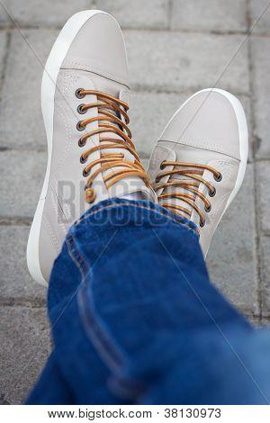 Half Body Of A Male Teenager, Sitting Cross Foot