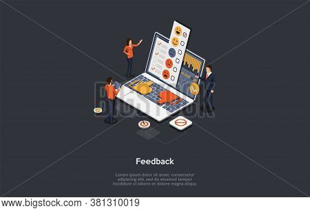 Customer Review And Feedback Concept. People Give A Review Rating. Customer Sends A Feedback With Im