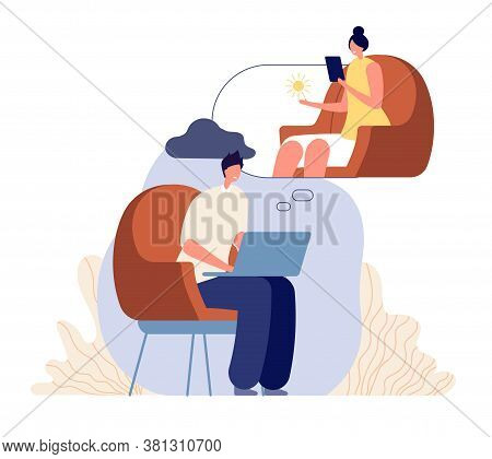 Online Therapist Counseling. Woman Psychologist, Psychotherapy Support. Man Has Confused, Patient Wi