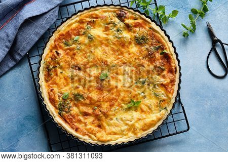 Quiche With Ham And Cheese. Open Pie. Top View.