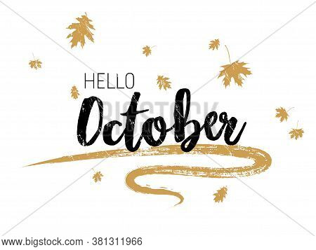 Hello October Autumn Seasonal Calligraphic Banner Vector Design With Falling Dry Leaves. Greeting Ca