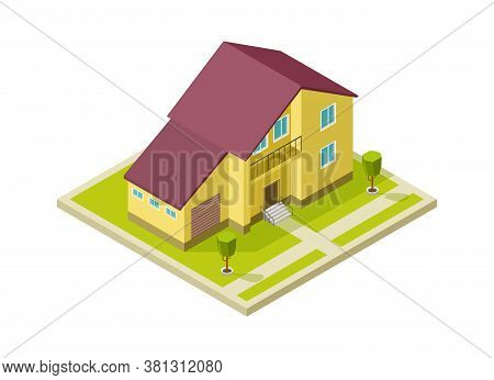 Family House. Rural Home Exterior With Garage. Isolated Isometric 3d Cottage, Building Modelling Vec