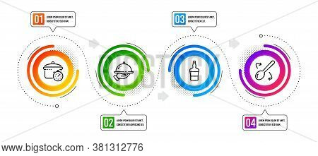 Restaurant Food, Scotch Bottle And Cooking Spoon Line Icons Set. Infographic Timeline. Boiling Pan S