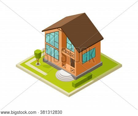 Modern Architecture. City House, Family Modern Cottage. Isometric Building Project, Isolated 3d Home