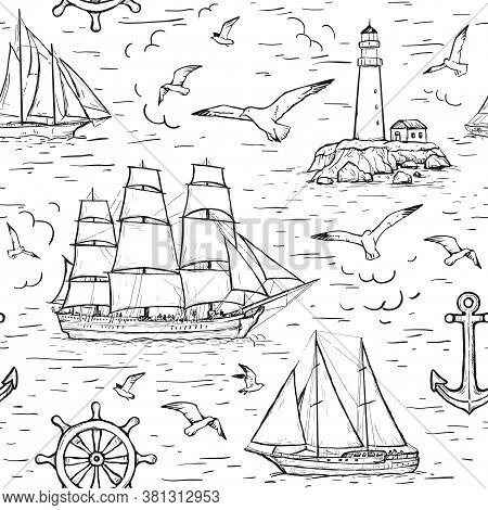 Vector Sketch Seamless Marine Pattern With Sailing Ship, Lighthouse, Seagulls, Anchor. Design For Te