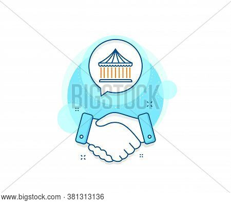 Amusement Park Sign. Handshake Deal Complex Icon. Carousels Line Icon. Agreement Shaking Hands Banne