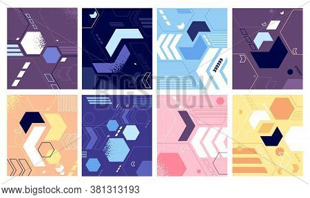Bright Geometric Shapes Design. Funky Abstract Pattern, Modern Minimalistic Geometrical Background.